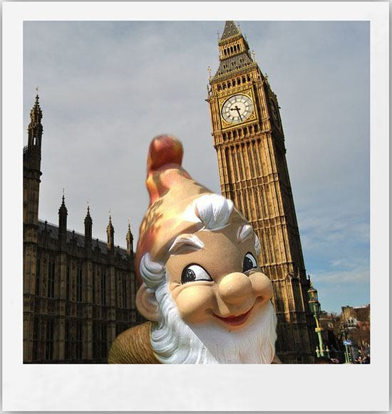 Garden gnome making a selfie in front of London's Big Ben