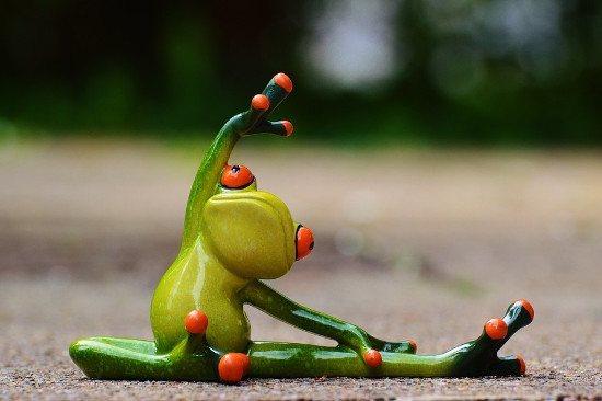 Stretching Ceramic Frog