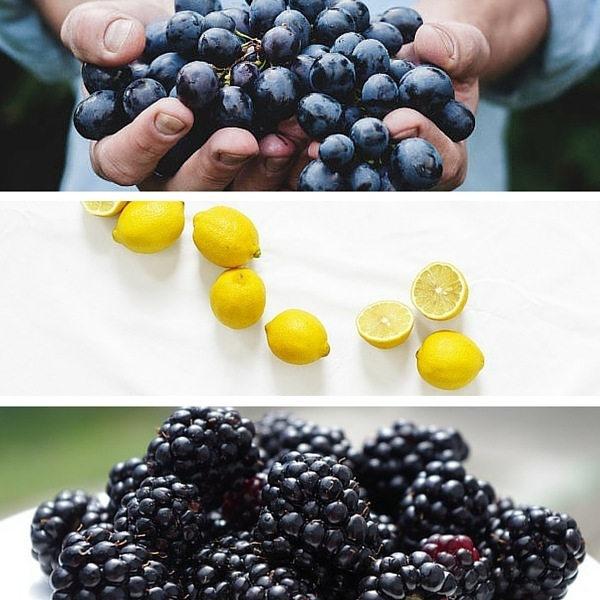 grapes lemon blackberries