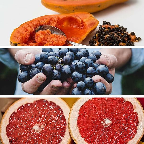 papaya grapes grapefruit