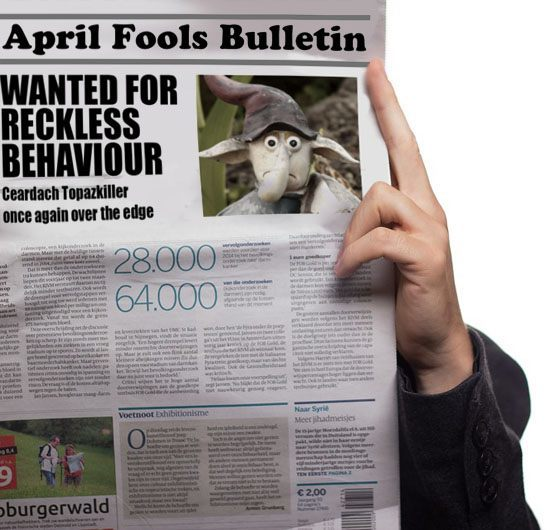 Wanted Garden Gnome on Newspaper