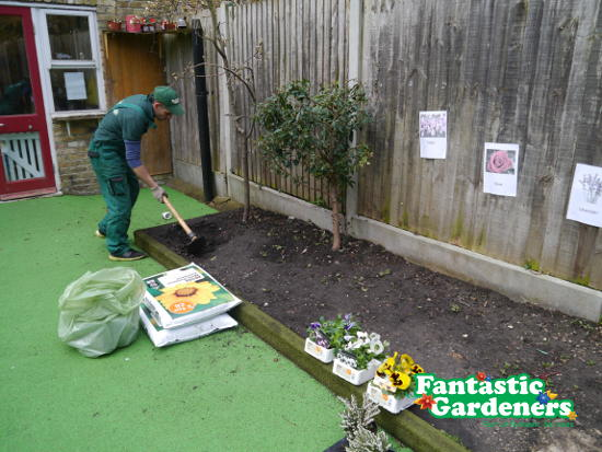 fantastic gardeners in the back garden of acol nursery