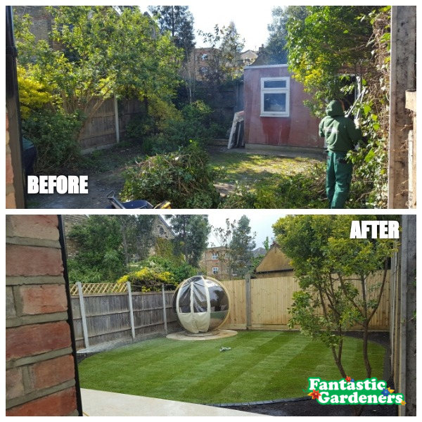 before and after photo of fantastic gardeners landscaping job