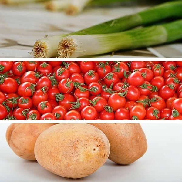 leek tomatoes potatoes