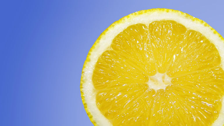 lemon on blue background